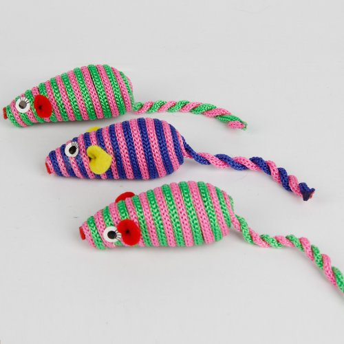3 Pcs In One Unit Cat Toy Pet Funny Nylon Rope Mouse Cat