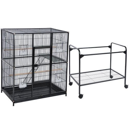 Pet products large wrought iron flight cage with removable rolling
